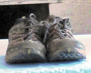 Mike's empty running shoes were at the presentation