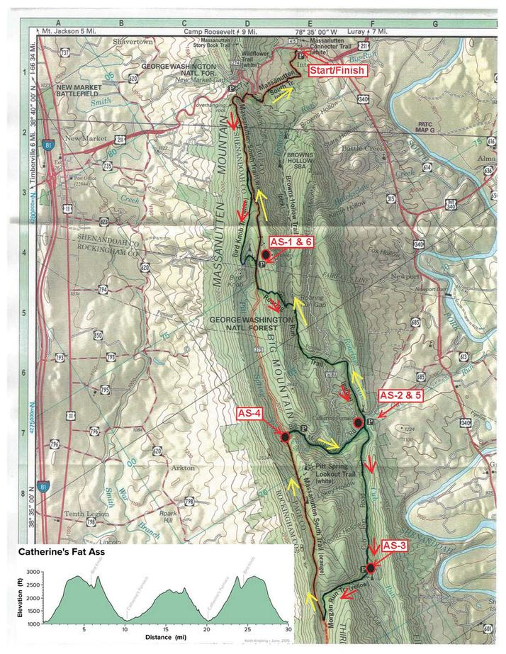 Map and elevation profile of Catherine's Fat Ass 50 km
