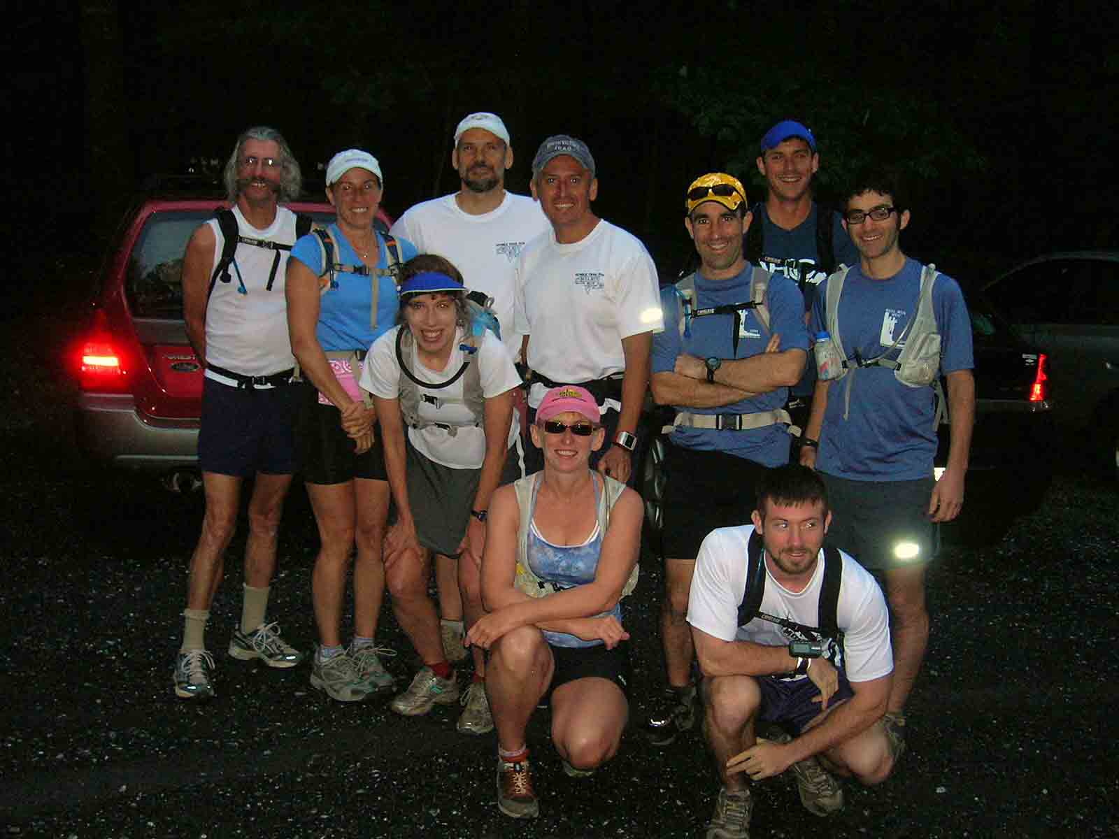10 of the 11 starters line up for obligatory class photo prior to the start of the inaugural Martha Moats Baker Memorial 50K, June 21 2008