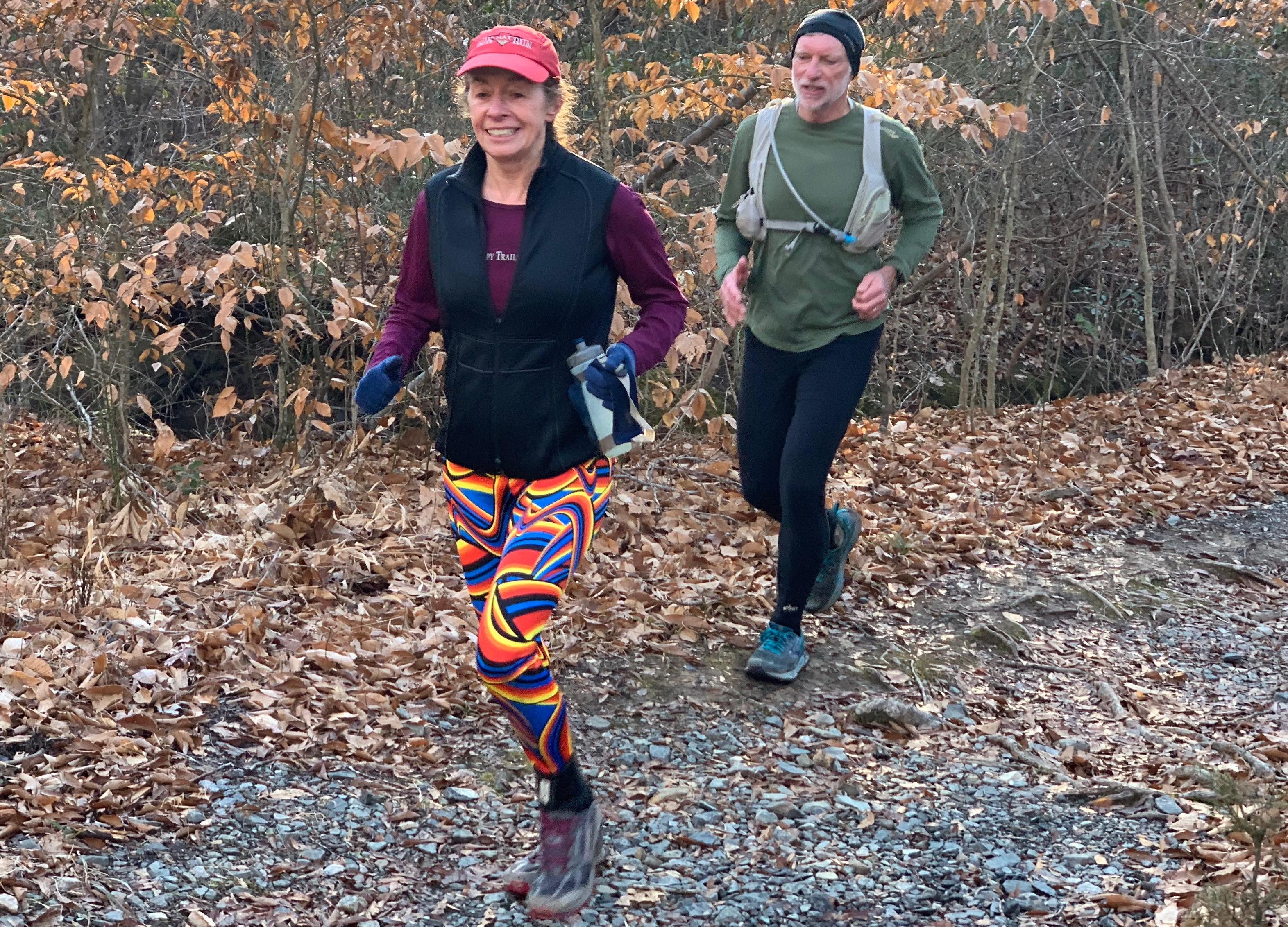 Linda Wack channels Team Slug member, James Moore, with her colorful tights at the 2020 Redeye