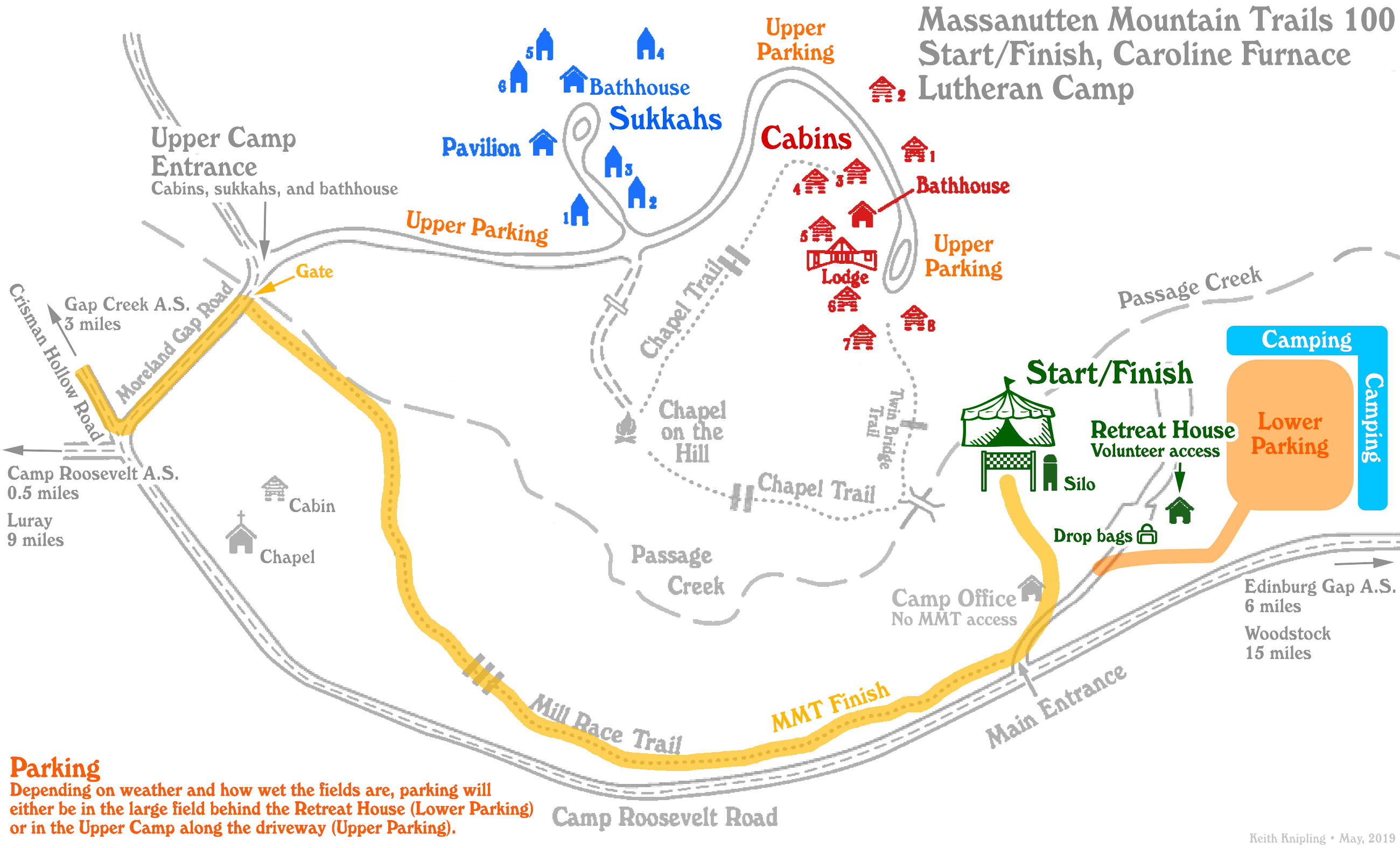 Route of the finish (in yellow) through the Caroline Furnace Lutheran Camp