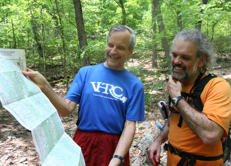 Volunteers Bill Turrentine and Ed Cacciapaglia marking trail before the 2010 MMT