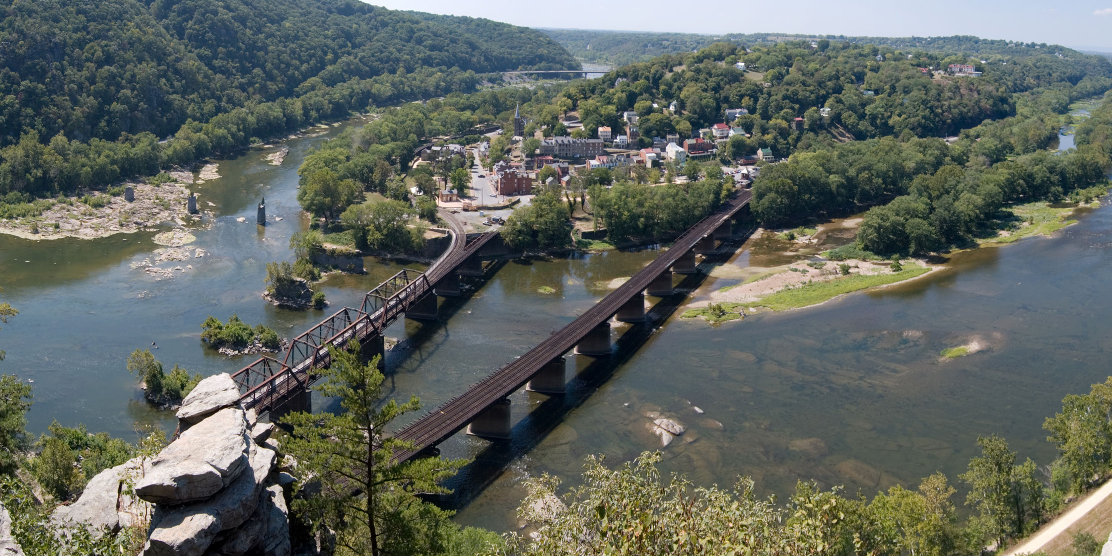 The view of Harpers Ferry from Maryland Heights