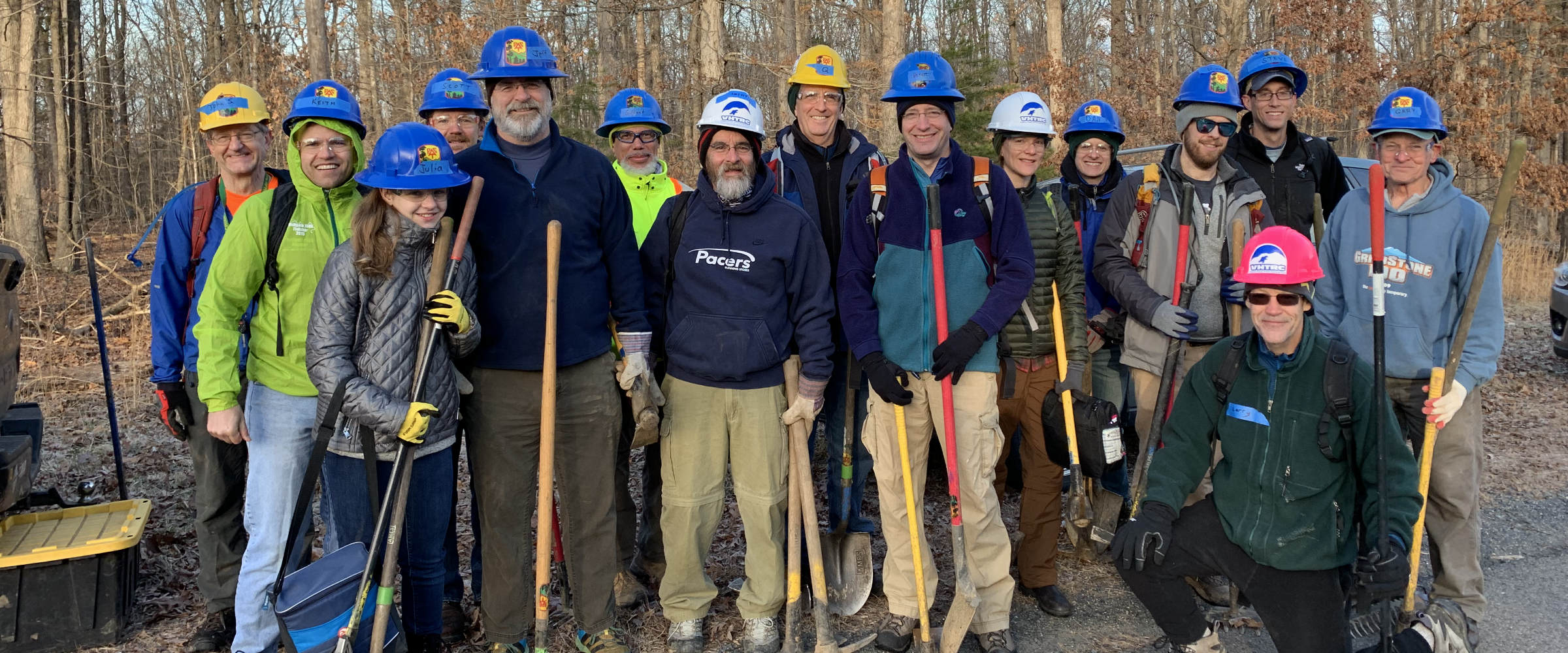 VHTRC trail workers before a January, 2019 outing on the Bull Run Occoquan Trail