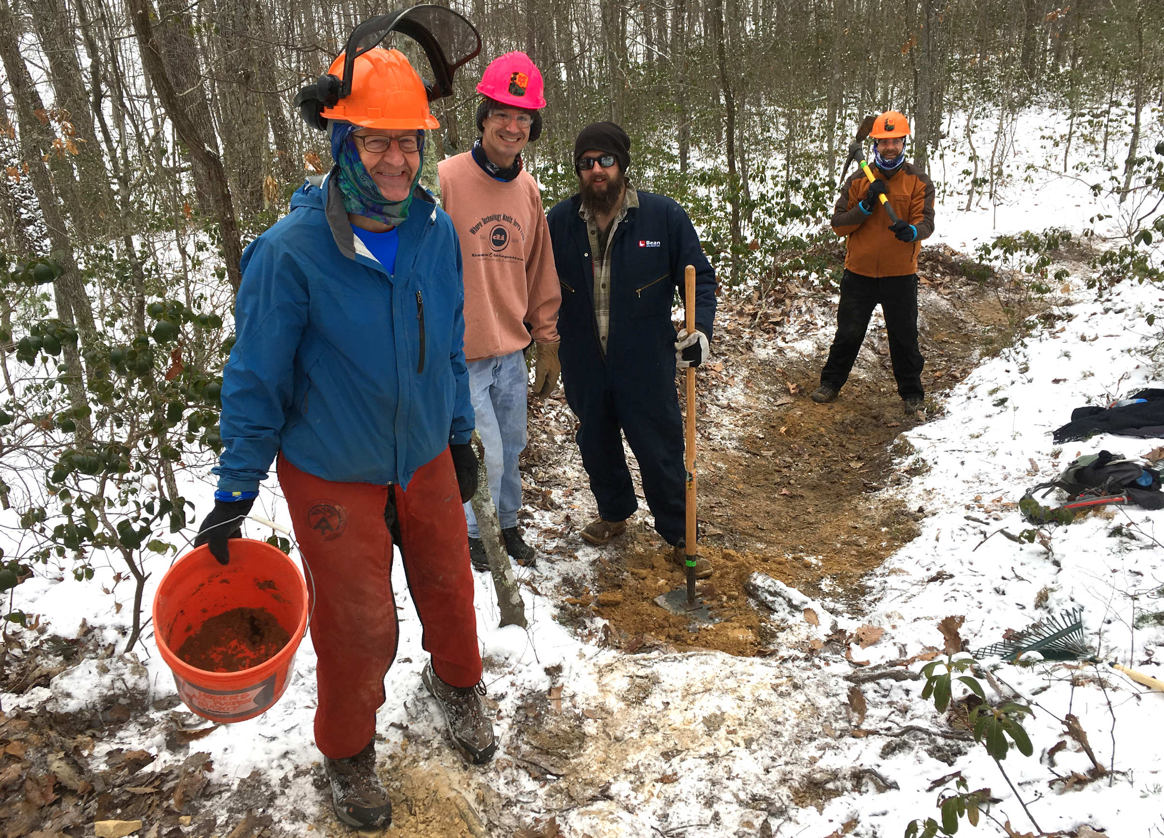 John Stacy leads a VHTRC work-crew in the Massanutten Mountains on a cold January, 2017 morning